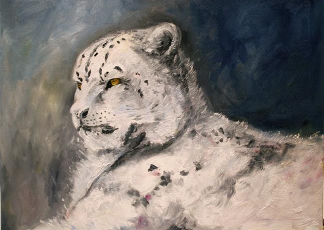 Art:   Moonlight Snow Leopard by Artist Laurie Justus Pace