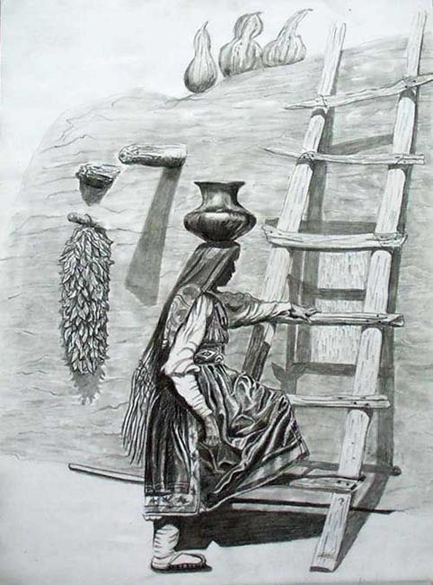 Art: Black Pottery Carrier by Artist Naquaiya