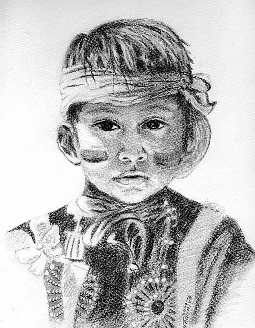 Art: Choovio, Native American Boy by Artist Naquaiya