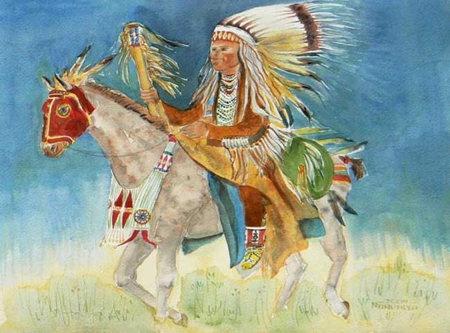 Art: Native American on Horseback by Artist Naquaiya