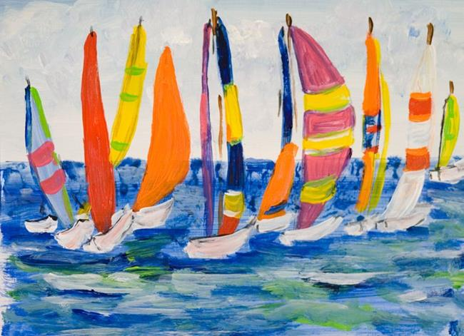 Art: Colorful Sails,SOLD by Artist Delilah Smith