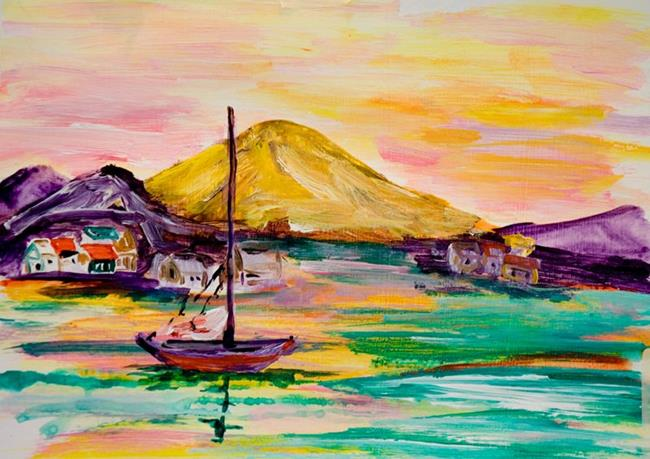 Art: Sun Set on the Bay by Artist Delilah Smith