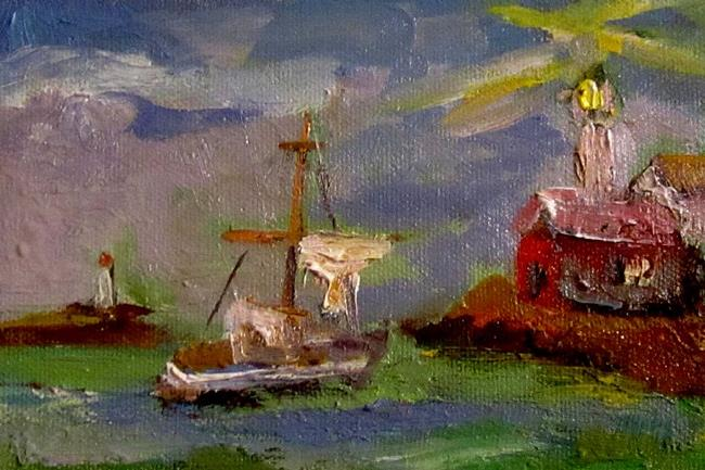 Art: Sail Boat and Light House-SOLD by Artist Delilah Smith