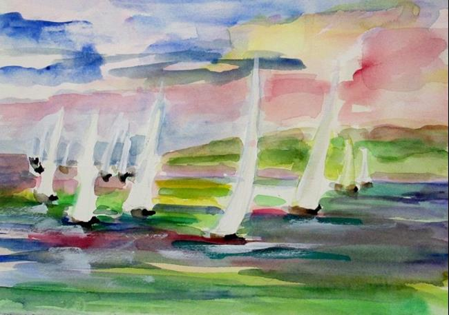 Art: White Sails Green Water by Artist Delilah Smith