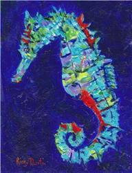 Art: Blue Seahorse by Artist Ulrike 'Ricky' Martin