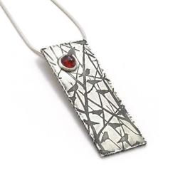 Art: Silver Bird Necklace with Garnet Gemstone by Artist Andree Chenier