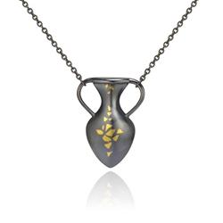 Art: Vase Necklace with Seed Motif by Artist Andree Chenier