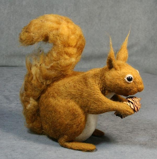 Art: Needle Felted Squirrel by Artist Harlan