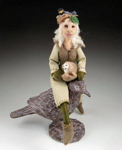 Detail Image for art Lady of the Woods - needle felted, ball-jointed doll