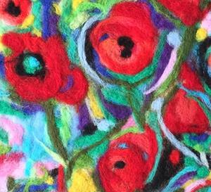 Detail Image for art Abstract Flowers Needle Felted Wool Painting