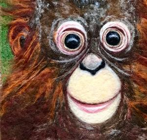 Detail Image for art Needle felted Wool Painting - Orangutan Baby