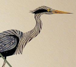 Art: Quilled Heron Fishing by Artist Sandra J. White