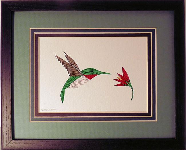 Art: Quilled Hummingbird by Artist Sandra J. White