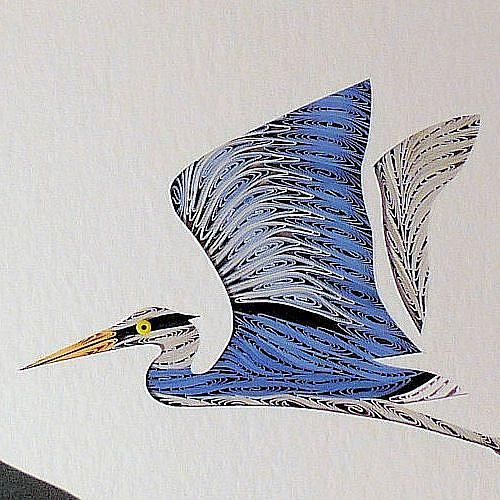 Art: Quilled Heron in Flight by Artist Sandra J. White