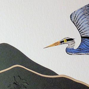 Detail Image for art Quilled Heron in Flight