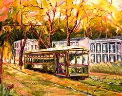 Art: Streetcar on St. Charles Avenue by Artist Diane Millsap