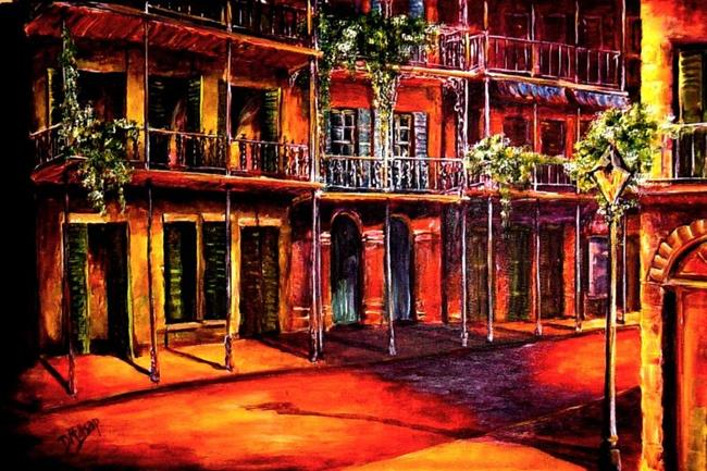 Art: Night in the French Quarter - SOLD by Artist Diane Millsap
