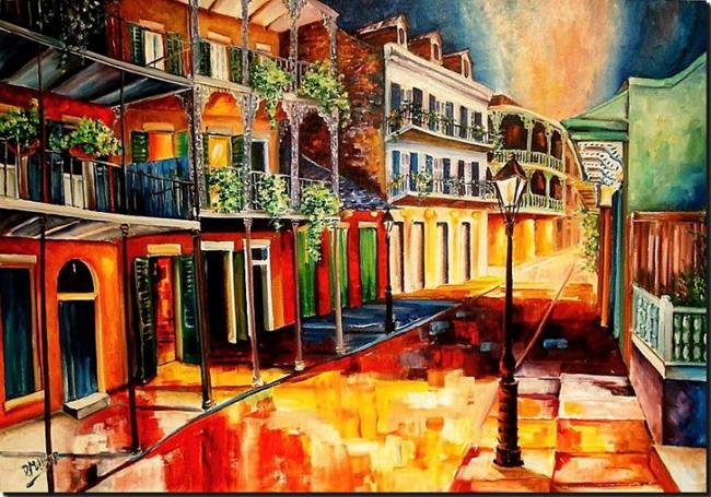 Art: Late on Royal Street - SOLD by Artist Diane Millsap