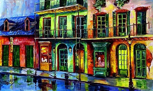 Art: Rainy French Quarter - Diptych - SOLD by Artist Diane Millsap