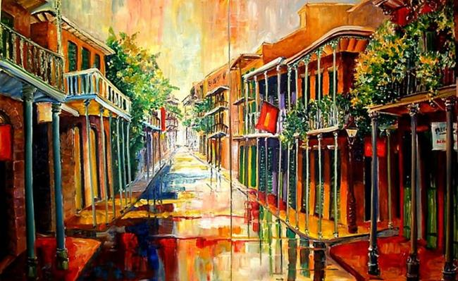 Art: French Quarter Rain - 2 panels- SOLD by Artist Diane Millsap