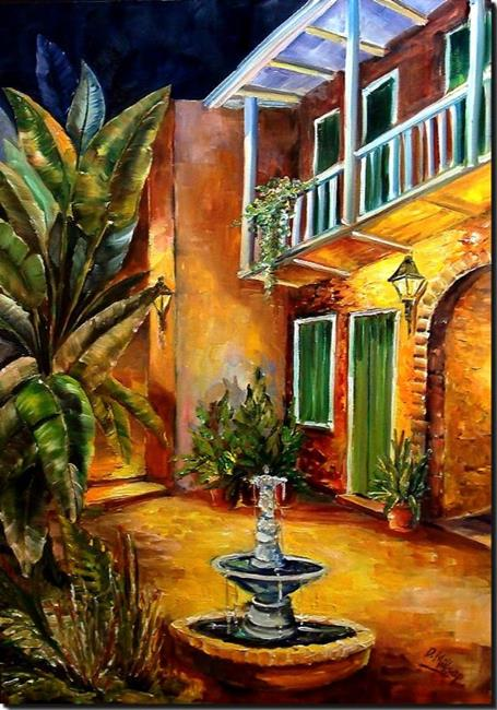 Art: Courtyard by Lamplight - SOLD by Artist Diane Millsap