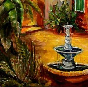 Detail Image for art Courtyard by Lamplight - SOLD
