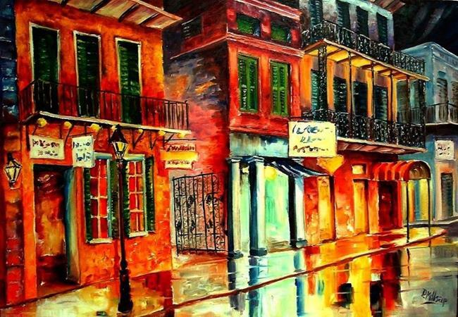 Art: Rain on Bourbon Street - SOLD by Artist Diane Millsap