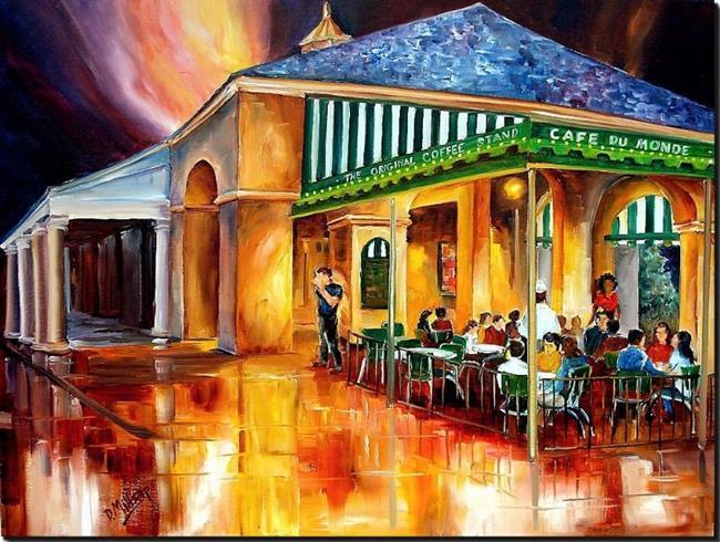 Art: Midnight at the Cafe Du Monde - SOLD by Artist Diane Millsap
