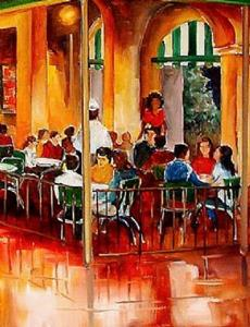 Detail Image for art Midnight at the Cafe Du Monde - SOLD