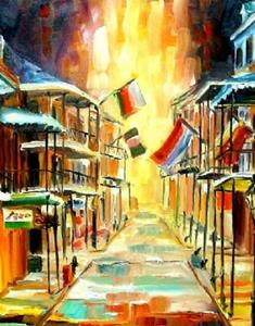 Detail Image for art The Lights on Bourbon Street - SOLD