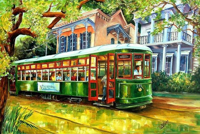 Art: Streetcar on St.Charles Avenue by Artist Diane Millsap