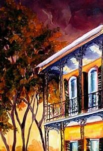 Detail Image for art Night Glow in the Garden District - SOLD