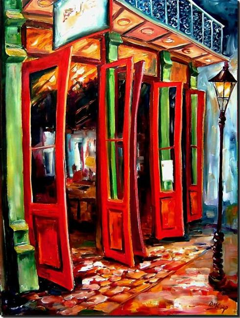 Art: Big Red Doors in the French Quarter II - SOLD by Artist Diane Millsap