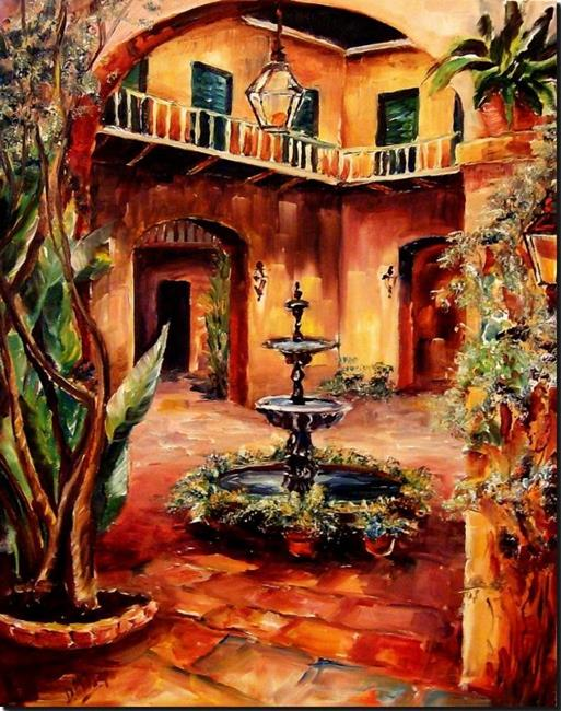 Art: Night in a French Quarter Courtyard - SOLD by Artist Diane Millsap