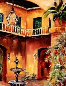 Detail Image for art Night in a French Quarter Courtyard - SOLD