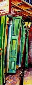 Detail Image for art Big Green Doors in the French Quarter- SOLD