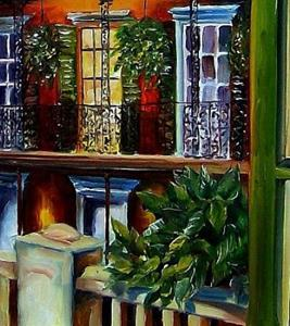 Detail Image for art View from a French Quarter Balcony - SOLD
