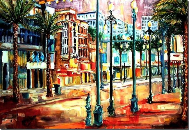 Art: Evening on Canal Street - SOLD by Artist Diane Millsap