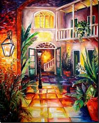Art: New Orleans Courtyard by Lamplight-SOLD by Artist Diane Millsap