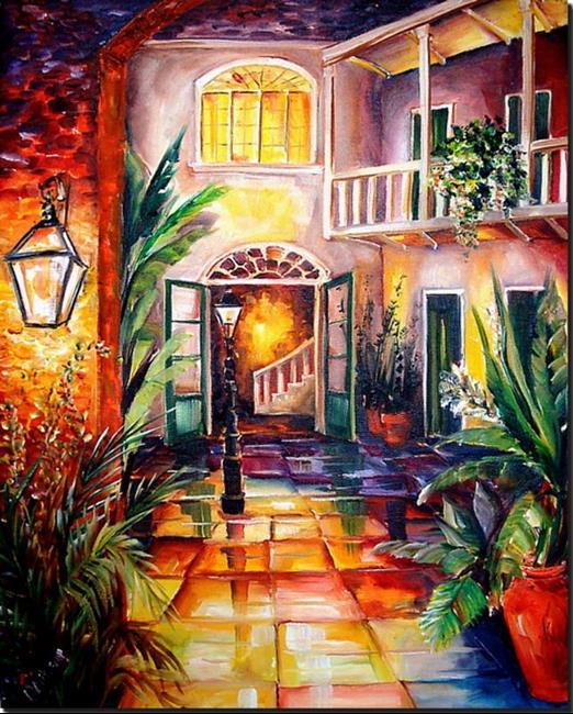 Art: New Orleans Courtyard by Lamplight-SOLD by Artist Diane Millsap
