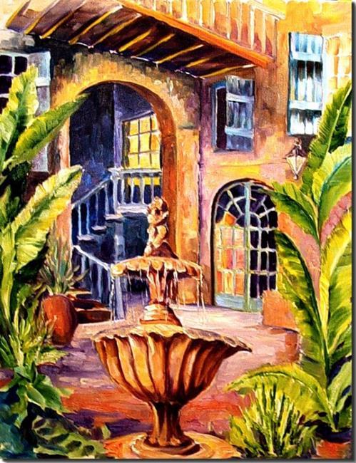 Art: Old French Quarter Courtyard - SOLD by Artist Diane Millsap