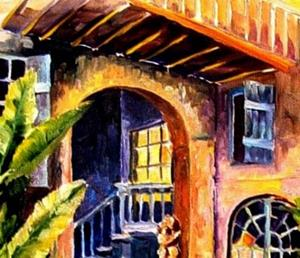 Detail Image for art Old French Quarter Courtyard - SOLD