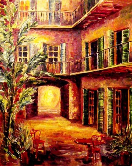 Art: French Quarter Courtyard - SOLD by Artist Diane Millsap