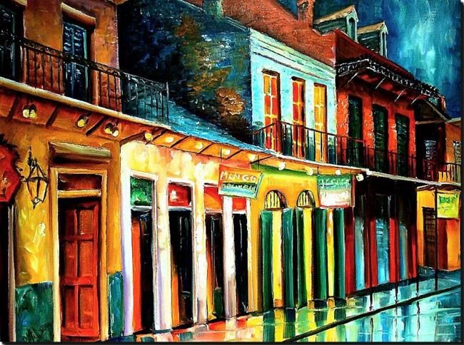 Art: Rainy Night on Bourbon Street - SOLD by Artist Diane Millsap