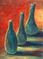 Art: Three Green Bottles by Artist Christine Wasankari