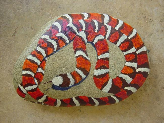 Art: Mountain King Snake rock portrait by Artist Tracey Allyn Greene