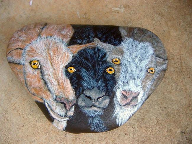 Art: These Billy Goats Rock! by Artist Tracey Allyn Greene