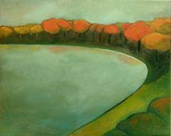 Art: Fall By the Lake by Artist Elizabeth Fiedel