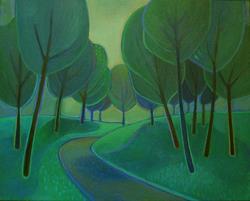Art: Rain Grove by Artist Elizabeth Fiedel