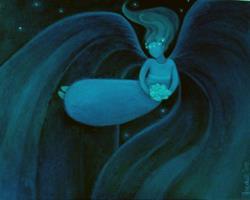 Art: Whimsical Good Night Angel by Artist Elizabeth Fiedel